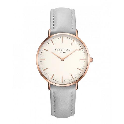 Roségoldene Tribeca Damenuhr - Graues Lederarmband | ROSEFIELD Uhren
