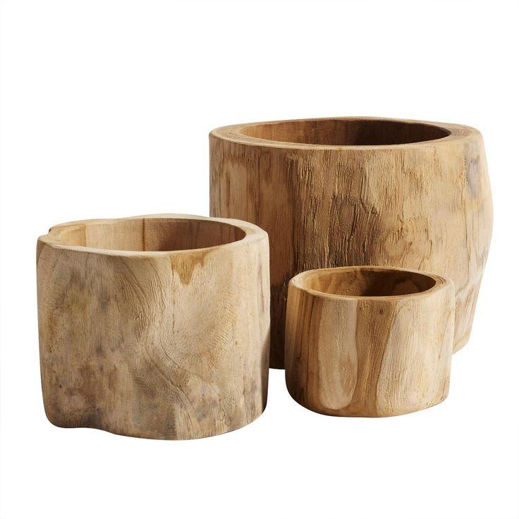 Plant pots teak wood