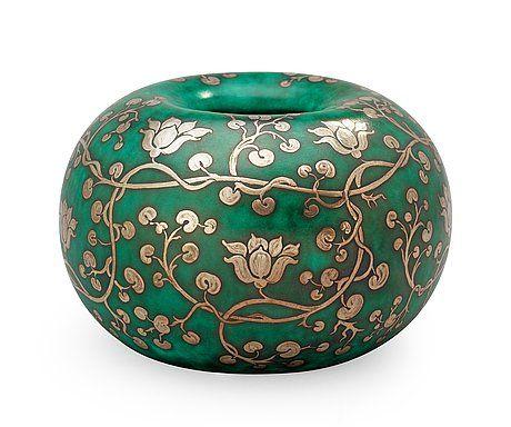 A Wilhelm Kåge Argenta stoneware jar, Gustavsberg 1934. Diameter 15 cm, height 10 cm.. - Modern Autumn Sale, Stockholm 569 – Bukowskis