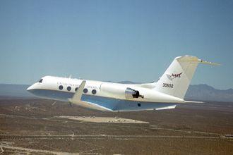 C-20A (Gulfstream III) in flight over NASA Dryden Flight Research Center