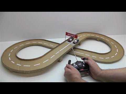 (205) DIY Track racing with cars Cars race track out of cardboard - YouTube