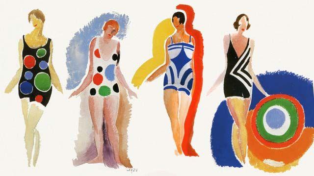 {1920s swimwear designs} by Sonia Delaunay - so much geometric awesomeness!