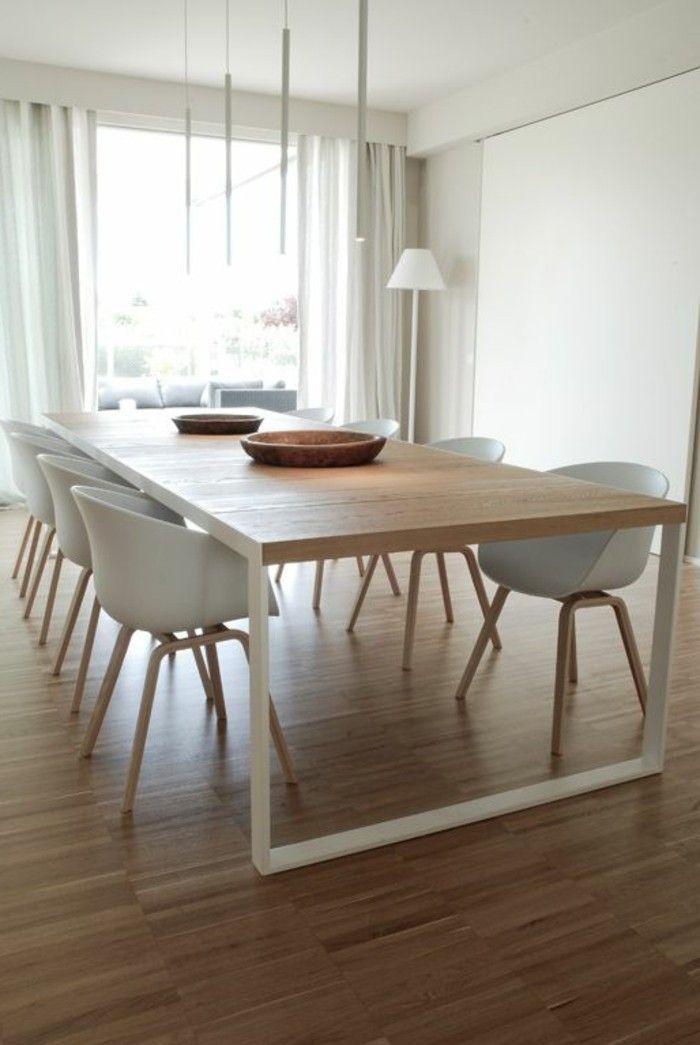 Les 25 meilleures id es concernant chaises blanches sur for Table salle a manger fer et bois