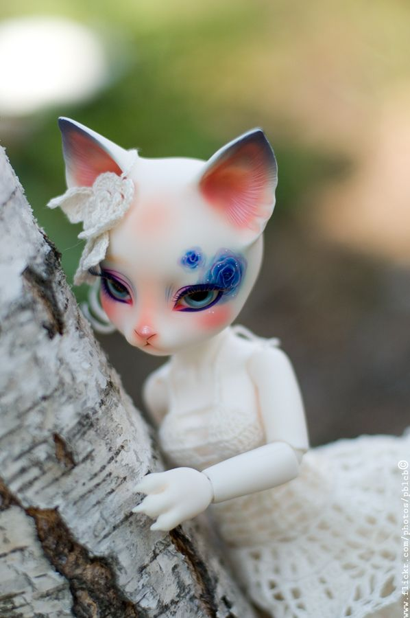 by PblCb, cat doll with flower petal ears