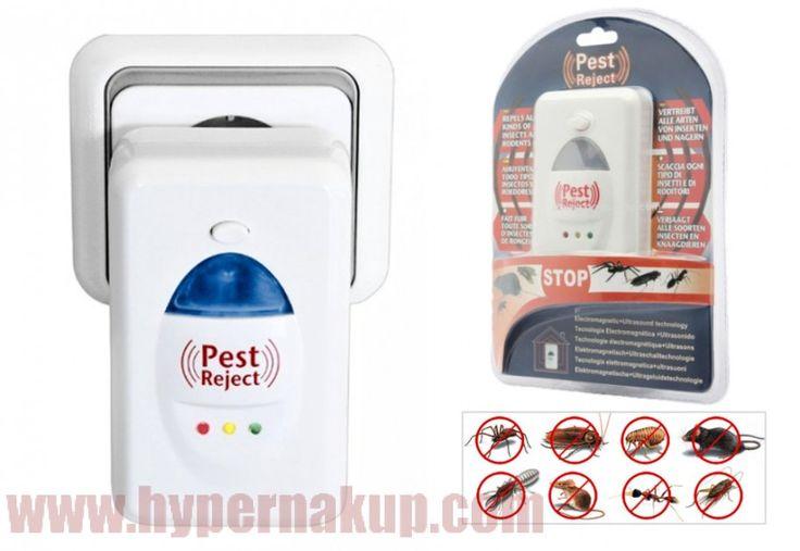 Elektronický odpudzovač myší a hmyzu PEST REJECT je moderný  prístroj ktorý napomáha v boji proti hmyzu a hlodavcom, bezpečne odpudí nepríjemný bodavý hmyz, muchy, pavúky, blchy, šváby, myši a potkany....Odpudzovač hlodavcov a hmyzu PEST REJECT funguje na princípe šírenia zvukových vĺn (účinná plocha až 200 m²). Najmodernejší repelent je ekologický, lebo už nepotrebujete používať chemické prostriedky nadmerne zaťažujúce životné prostredie. Odpudzovače sú ideálne do obytných miestností…