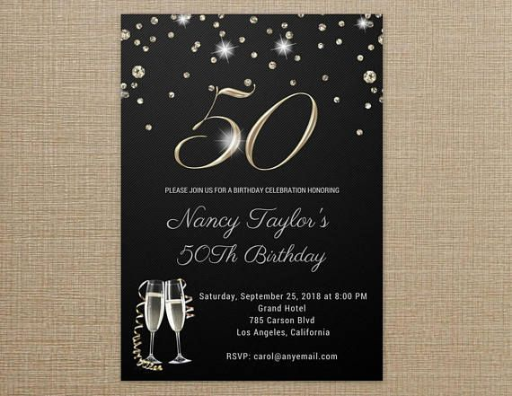 50th Birthday Invitations For Women ANY AGE WORDING Adult Her Black And Gold