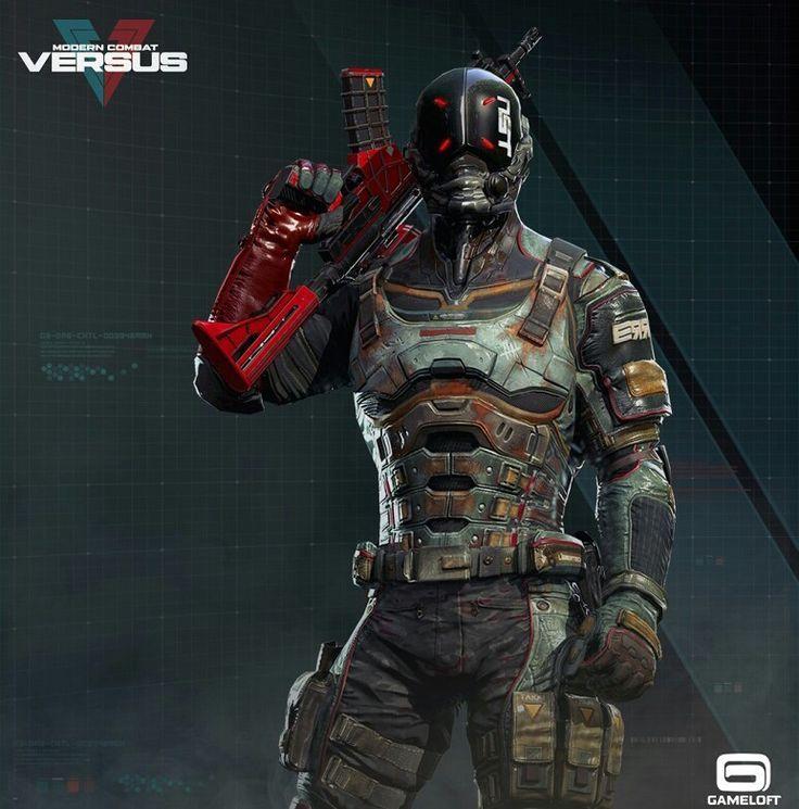 Modern Combat Versus Locke Cyberpunk Soldat Armures