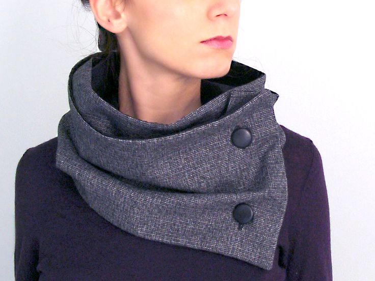 Warm wool button scarf in dark grey herringbone & black cotton with two black leather buttons - FOR SALE: 44.00€ - Click here to buy: clothbot.gr - clothbotshop.etsy... - double lined, turns twice around - Fall Winter 2015 scarves, accessories, trends, holidays, christmas gifts, men women, unisex, scarf, neckwarmer
