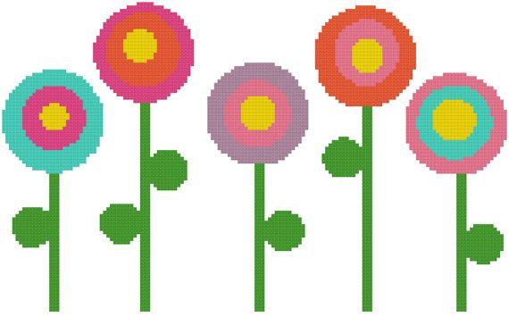 Lollipop Flowers  a Counted Cross Stitch by WooHooCrossStitch