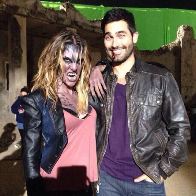 Jill Wagner and Tyler Hoechlin on the set of Teen Wolf!