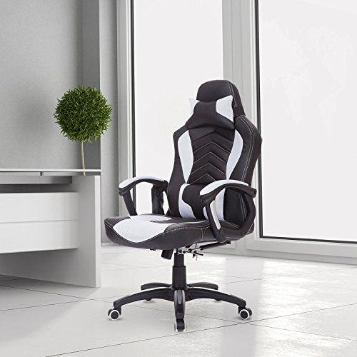 LUXE Fauteuil/Chaise de bureau avec fonction de massage et de réchauffage chauffant modèle de course noir et blanc neuf 19WT: -Matériaux:…