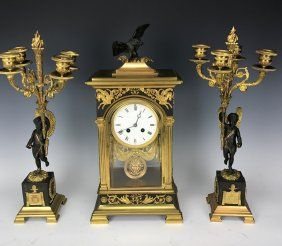 19TH CENTURY EMPIRE STYLE BRONZE CLOCK SET