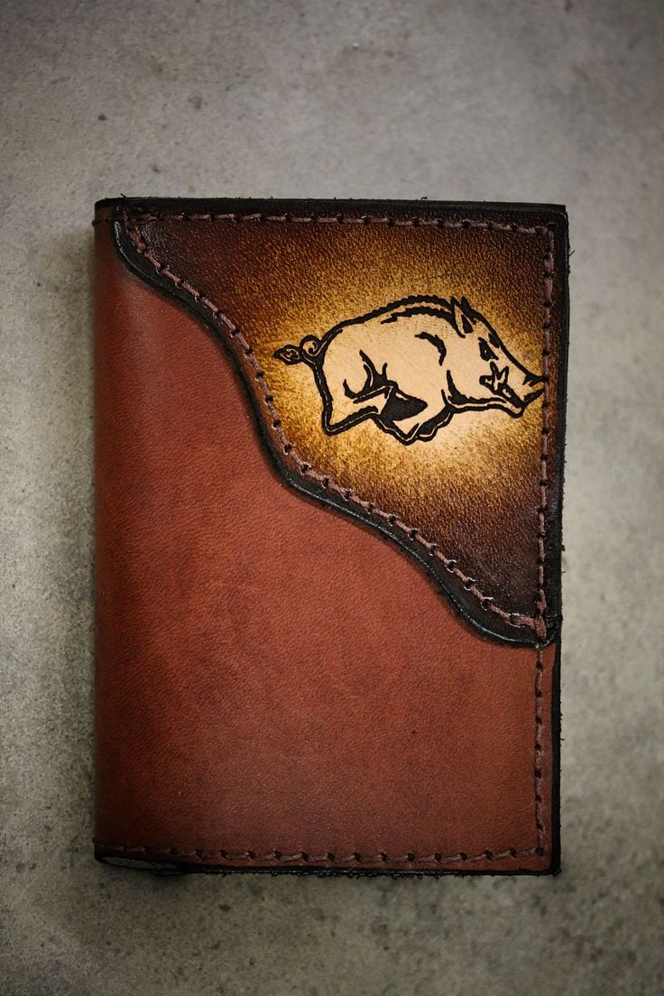 Handcrafted Brown Leather Trifold with Custom Sports Team Logo in corner (HOG shown)--Initials Free!!