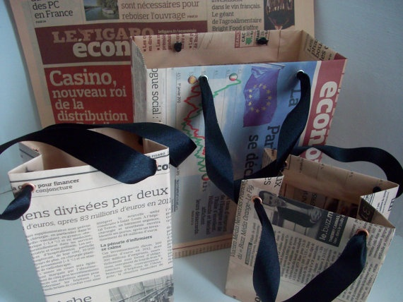 Recycled Newspaper Gift Bags  Set of 3 by LaPommeEtLaPipe on Etsy, $5.00