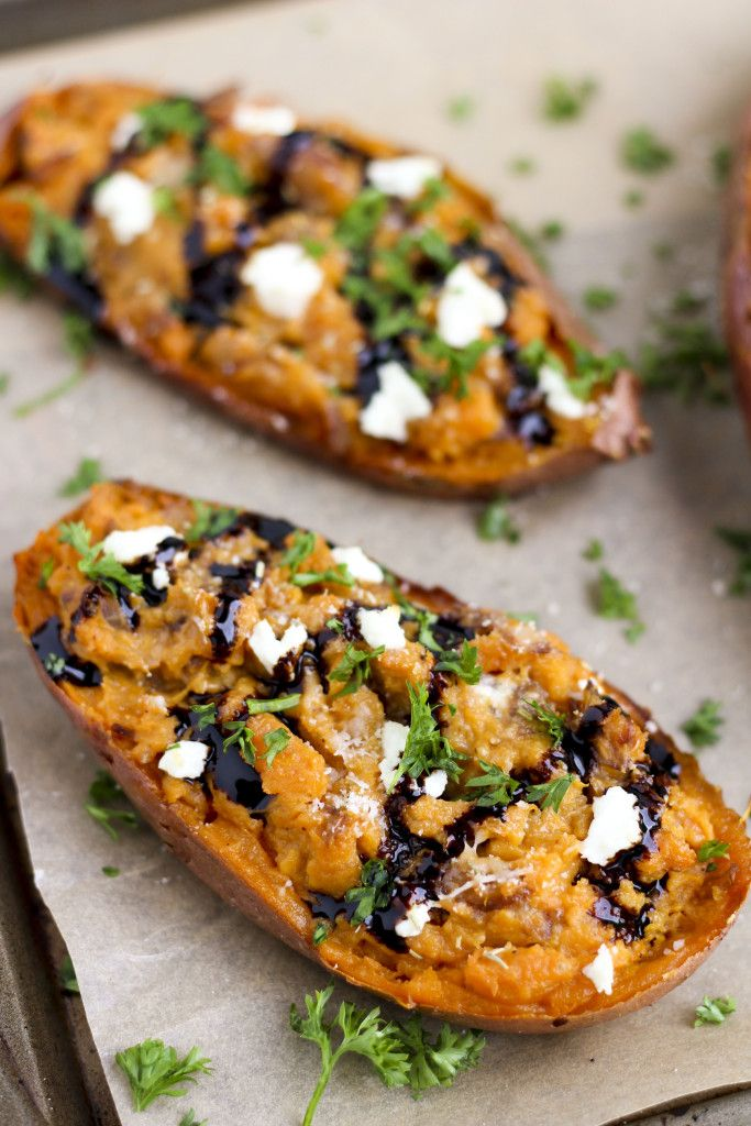Twice baked, savory sweet potatoes, stuffed with creamy goat cheese, sautéed balsamic onions and rosemary is one of our favorite side dishes! I serve it with chicken, steak, pork and fish!