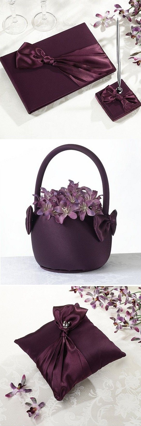 124 best flower girl baskets images on pinterest flower girl shop purple wedding accessories including guest books pen holders flower girl baskets ring bearer pillows and garters covered in luxurious plum purple izmirmasajfo Images