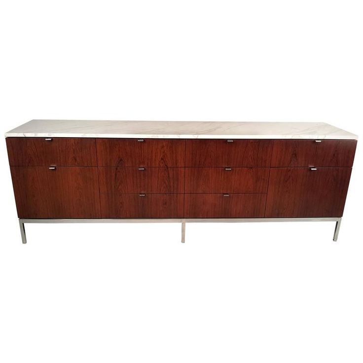 Florence Knoll Rosewood Credenza with Carrara Marble Top | From a unique collection of antique and modern credenzas at https://www.1stdibs.com/furniture/storage-case-pieces/credenzas/