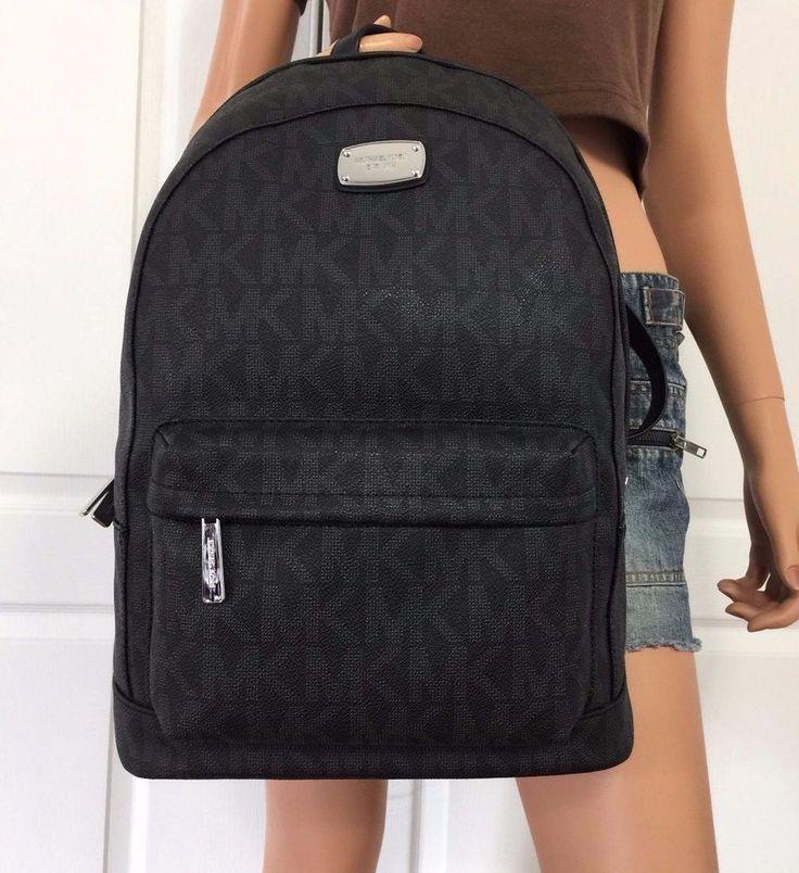 Michael Kors Large Backpack Book Bag Monogram MK PVC Leather Black Purse school #MichaelKors #BackpackStyle