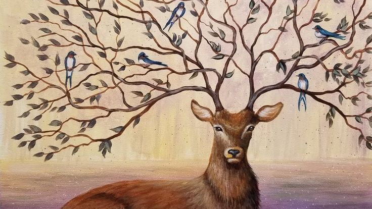 Learn to Paint a Fantasy Deer with Tree Branch Antlers FREE Step by Step...