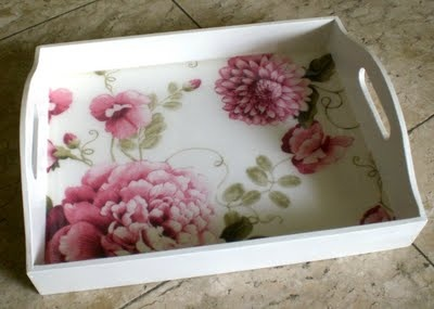 Tray done in floral decoupage. Very pretty pink and white.