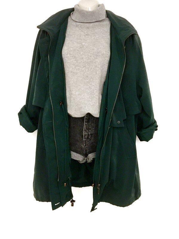 My True Vintage 80s Coat Jacket Oversize Coat Dark Green Casual Street Wear