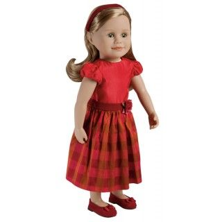 Montmorency Waltz: Leonie's party dress with its full tartan skirt was perfect for twirling to the music of the dance band. This set includes a dress made of silk and satin with a full lining and velvety belt with floral decoration, matching tartan hair band and velvety red shoes with ribbon flower and bow.