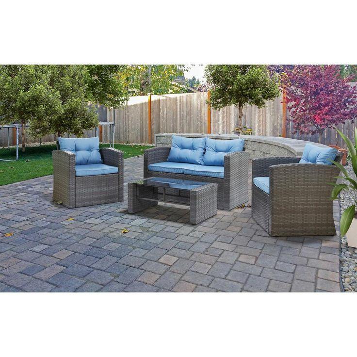 S'DENTE Roatan Grey 4-Piece Wicker Patio Conversation Set with Light Blue Cushions
