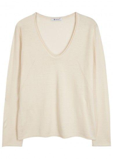 Cream fine-knit wool jumper