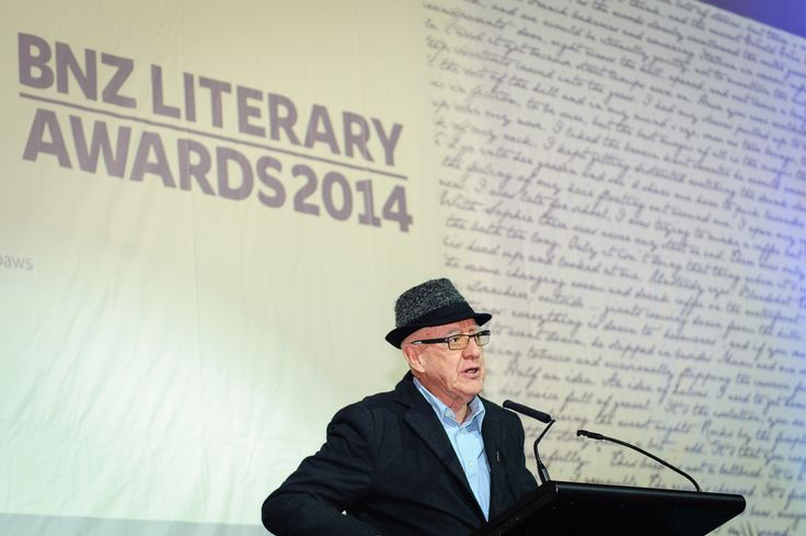 Graham Beattie, judge, speaking at the BNZ Literary Awards 2014. The Great Hall, Buckle Street, Wellington. Wednesday 17 September 2014.