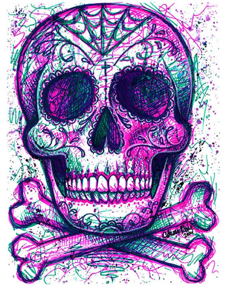 Neon Death by Carissa Rose Sugar Skull & Crossbones Canvas Art Print