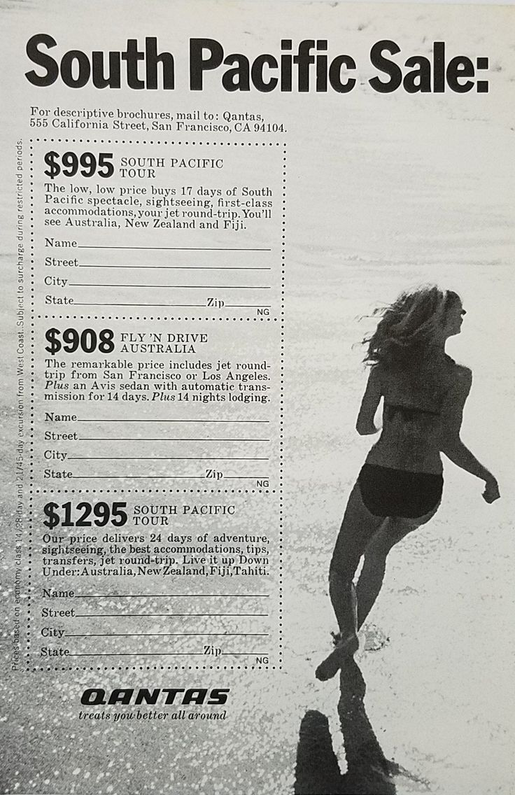 1970's Qantas Airlines Vintage Ad - Woman Bikini Running On Beach