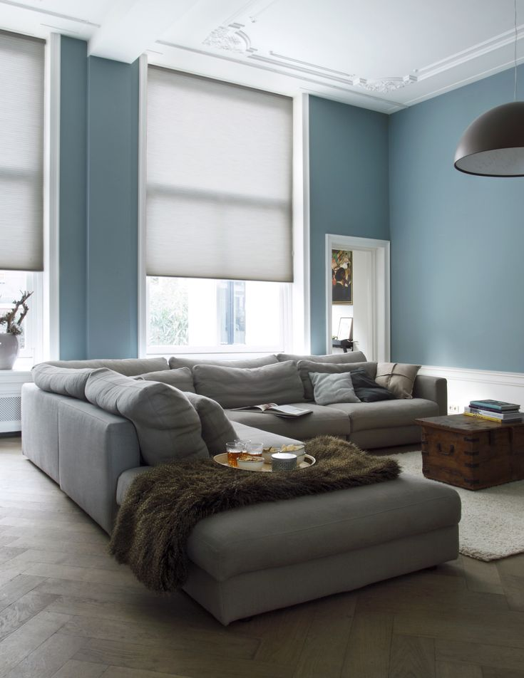 Grey. Blue. Living. Woonkamer.
