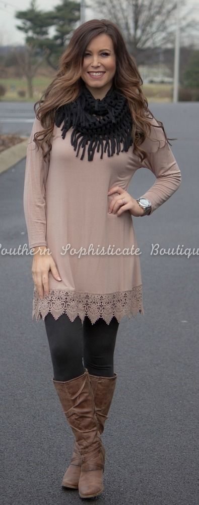 Taupe Lace Bottom Dress / Southern Sophisticate Boutique