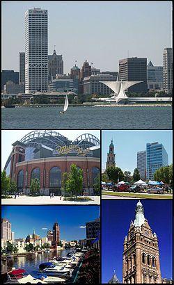 Top: Milwaukee Skyline, Center Left Miller Park, Center Right Cathedral of St. John the Evangelist, Lower Left Milwaukee River, Lower Right Milwaukee City Hall