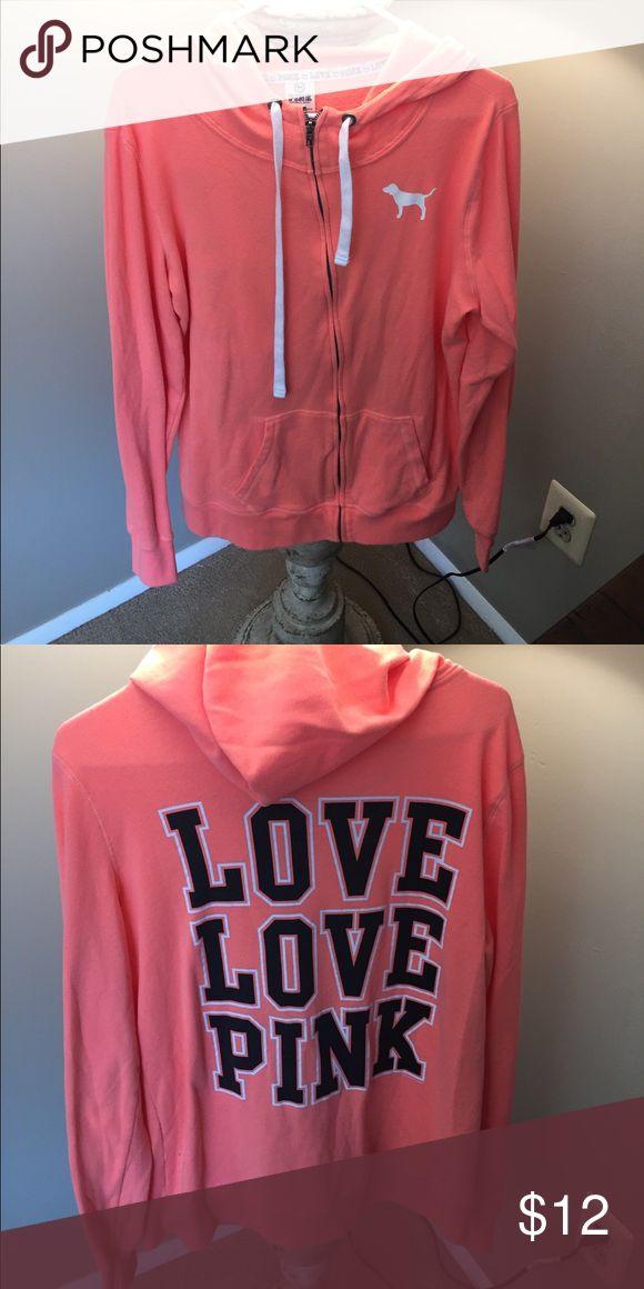 PINK zip up hoodie PINK zip up hoodie - writing on back - bright orange PINK Victoria's Secret Tops Sweatshirts & Hoodies