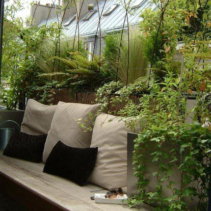 / / Balcon / / Plantes Vivaces / / Banc / / Coussins / / Beige & Noir / / Bois / /
