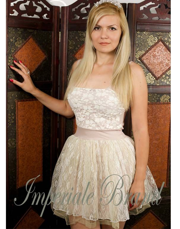 Rochie cununie ivory din dantela si voal RS05