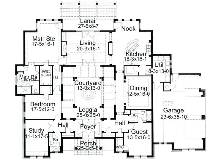 Spanish Style House Plans With Interior Courtyard Gallery Of Plans Style House With Interior Courtyard Courtyard House Plans Courtyard House House Floor Plans