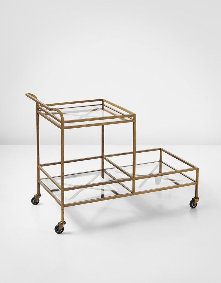 Serving trolley, Gilded metal, mirrored glass, glass, Jean Royère, 1949