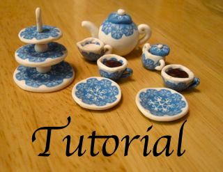 How to make a miniature polymer clay tea set: tutorial with canework pattern. $8.00, via Etsy.- megnewberg shop