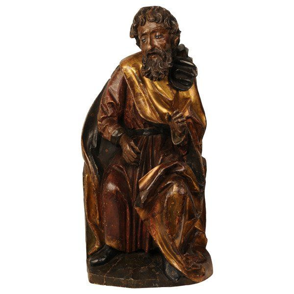 Swabian limewood carving of a prophet, circa 1500