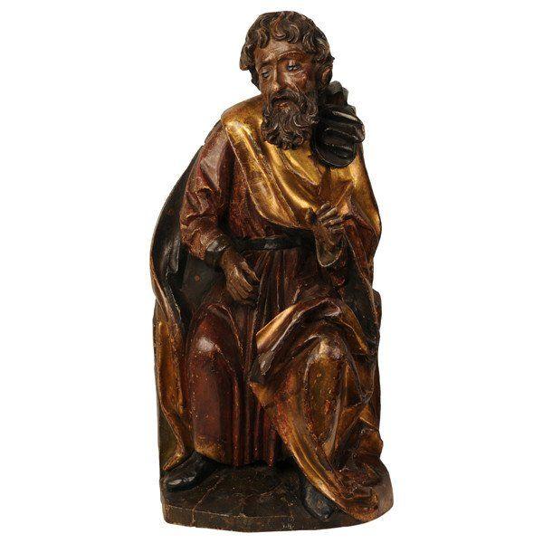 Swabian limewood carving of a prophet, circa 1500