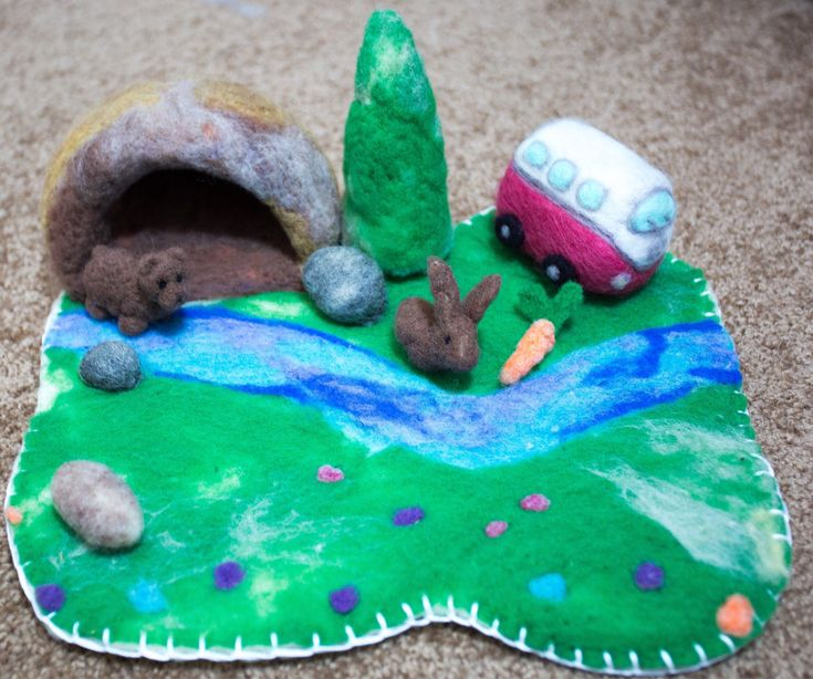 Excited to share the latest addition to my #etsy shop: Adorable Waldorf Inspired Play scape Wet Felted Playmat Needle Felted Animal Season Table Playmat Landscape Cave Play-Mat Pre-School Toy #toys #children #blue #birthday #christmas #green #toddlertoy #needlefelt #feltlandscape #playscape #waldorf #waldorftoy