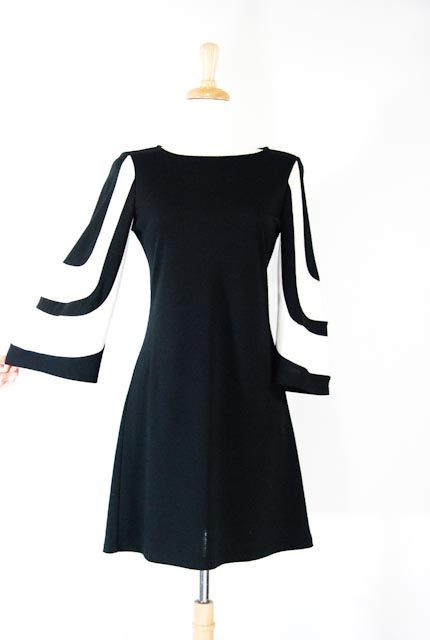 Black And White Dress 60s 70s