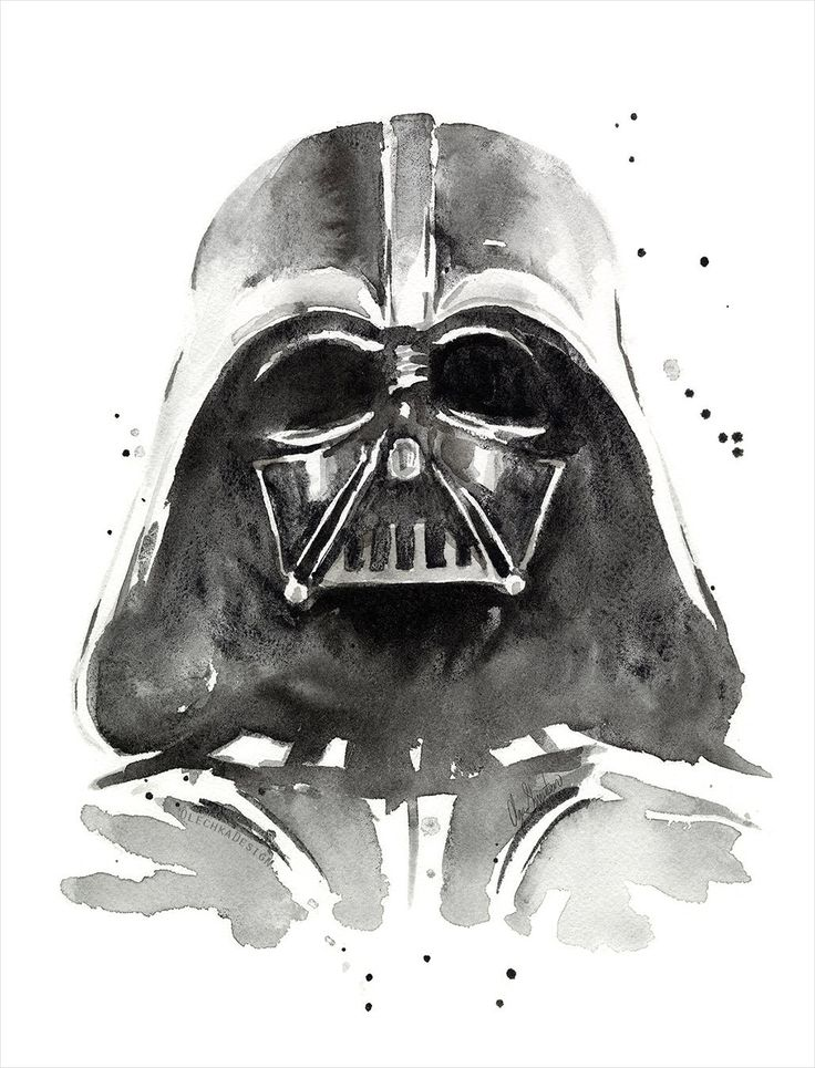Darth Vader Watercolor Art Print, The Dark Side of Watercolor, Star Wars Art, Geek, Sci-Fi, Portrait by OlechkaDesign on Etsy https://www.etsy.com/listing/225393578/darth-vader-watercolor-art-print-the