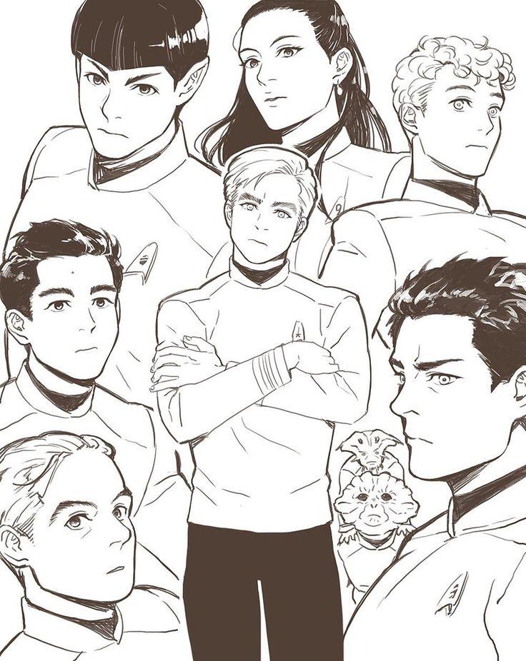 James T. Kirk, Spock, Montgomery Scott, Nyota Uhura, Leonard H. McCoy, Hikaru Sulu, Pavel Chekov, Keenser || Star trek AOS