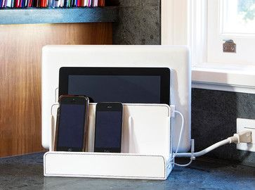 White Leatherette Multi Charging Station - contemporary - home office products - Great Useful Stuff