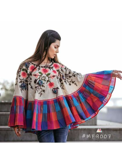 c7ea54b7d1 Ethnic Poncho Pattern Khadi Top   Only on saliyamohit.wooplr.com   Best tops
