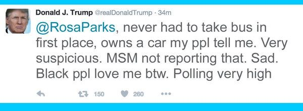 One of Trumps many idiotic tweets. Not many have Twitter accounts where I'm from. So most don't see his inner-idiot until it's too late.