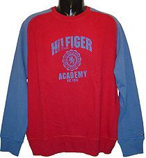 tommy Hilfiger Denim - `ilfiger Academy`Sweatshirt Great new crew-neck sweatshirt bearing Hilfiger Academy Est. 1985 and Quality All American Denim Brand MCMLXXV across the front. Small Flag logo embroidery on the left cuff. Contrast raglan sleeves. R http://www.comparestoreprices.co.uk/mens-clothes/tommy-hilfiger-denim--ilfiger-academysweatshirt.asp